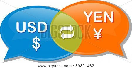 Illustration concept clipart speech bubble dialog conversation negotiation of currency exchange rate USD Yen Dollar Yen