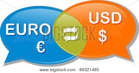 Illustration concept clipart speech bubble dialog conversation negotiation of currency exchange rate Euro USD