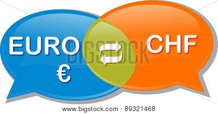 Illustration concept clipart speech bubble dialog conversation negotiation of currency exchange rate
