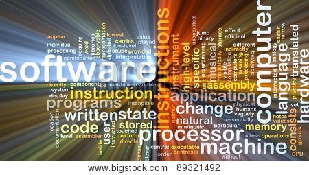 Background concept wordcloud illustration of software glowing light