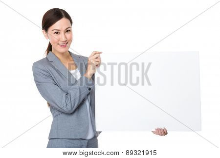 Asian Businesswoman show with white board