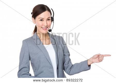 Customer services officer with finger showing something