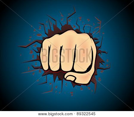 Hand right punch vector
