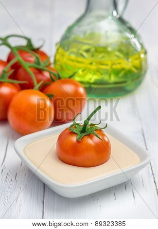 Yoghurt-tomato Sauce With Fresh Tomatoes And Olive Oil On Background