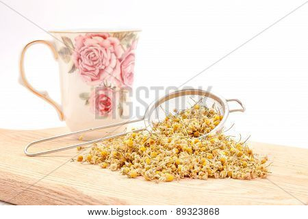 Chamomile Tea Chamomile Tea On The Wooden Table