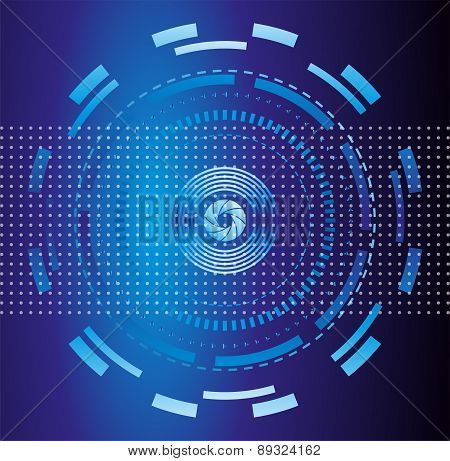 Blue abstract tech circles background design
