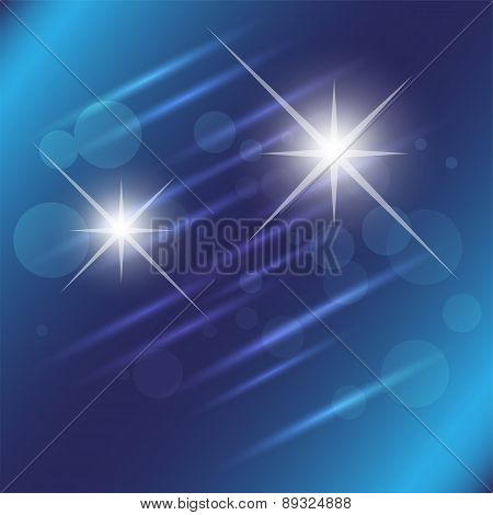 Blue star light effect background