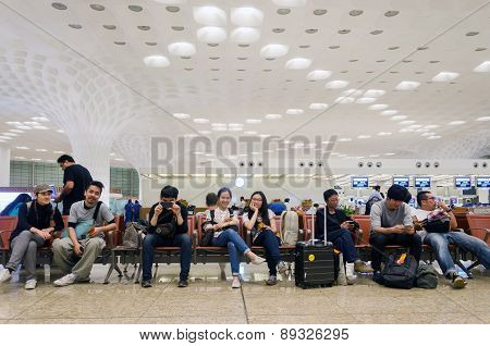 Mumbai, India - January 5, 2015: Tourist At Chhatrapati Shivaji International Airport.