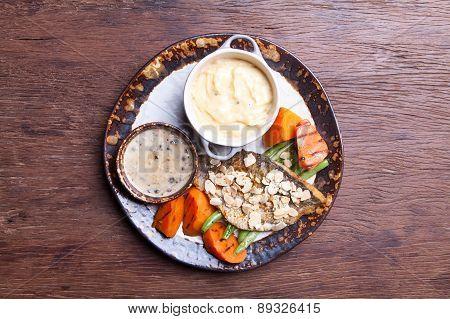 Seabass Steak with vegetables