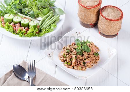 Spicy Minced Pork Salad , Thai Food
