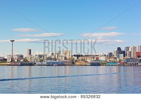 View on Seattle downtown from the waters of Puget Sound.