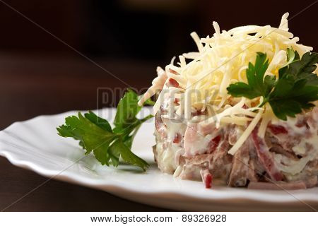 Studio snapshot of meat salad with grated cheese