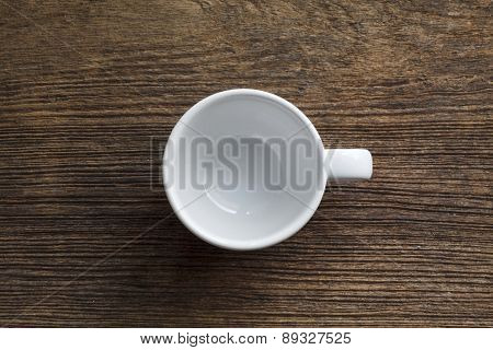 Empty Coffee Cup On Old Wooden