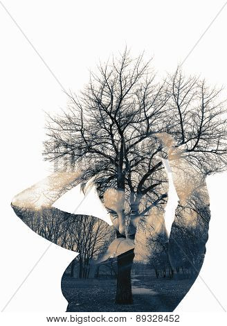 Collage Of The Woman And Tree