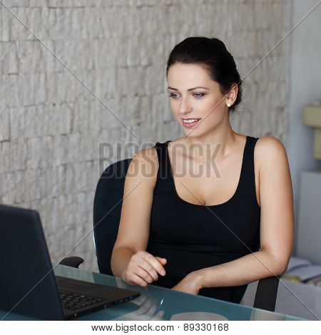 Brunette Woman In Office Chat On Internet