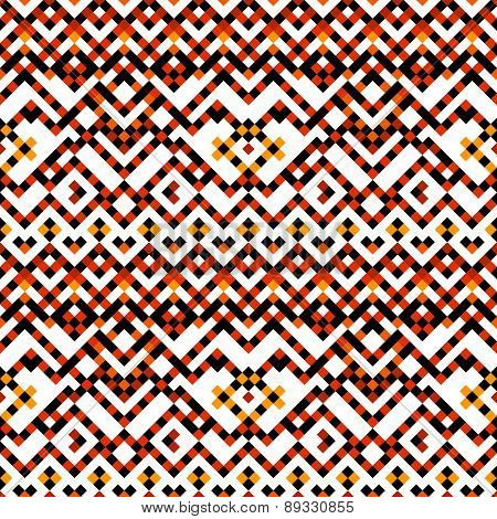 Colorful red orange black and white ethnic geometric mosaic tile seamless pattern, vector