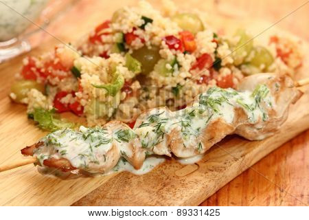 Chicken Shish Kebab With Salad