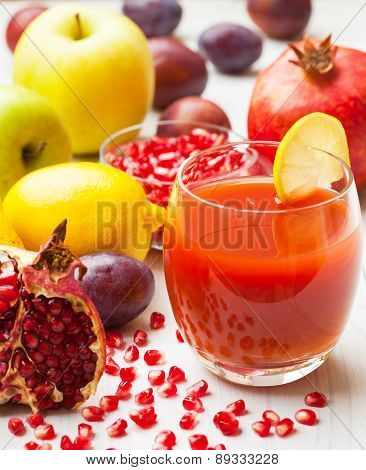 Fresh fruit juice with pomegranates