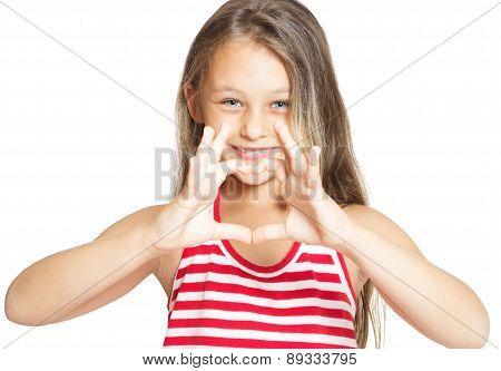 Little Girl Showing Heart Hands