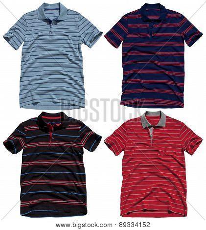 Set of polo shirts isolated on white background