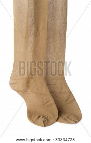 Pair Of Stockings (pantyhose) Flesh-colored