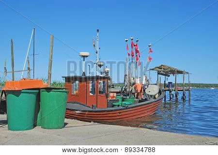 traditional Fishing Boat in Harbor of Klein Zicker on Ruegen Island,Mecklenburg western Pomerania,baltic Sea,Germany