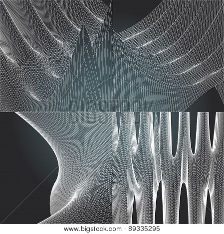 Set Polygonal Abstract Vector Illustration Black And White Grid