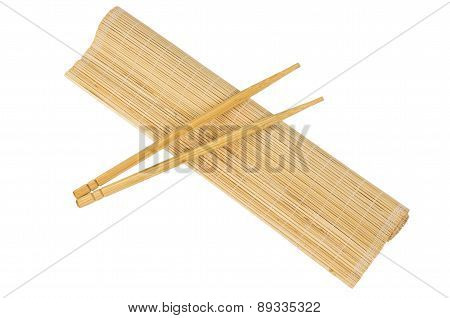 Rolled Bamboo Mat And Sticks