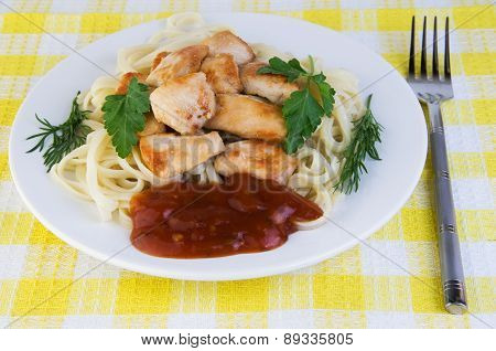 Plate Of Fried Meat And Pasta