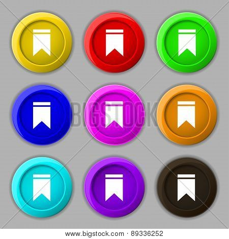 Web Stickers, Tags And Banners. Sale Icon Sign. Symbol On Nine Round Colourful Buttons. Vector