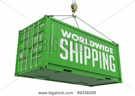 Worldwide Shipping- Green Hanging Cargo Container.