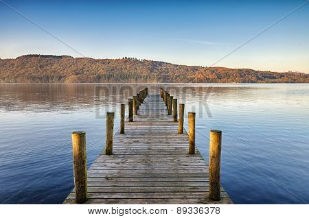 Wooden jetty on Windermere.