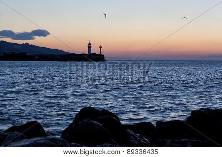 Beacon In Yalta At Sunrise, A View From The Central City Embankment, Crimea