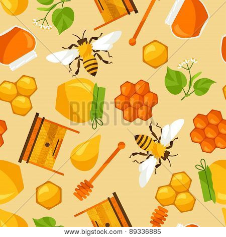 Seamless pattern with honey and bee objects