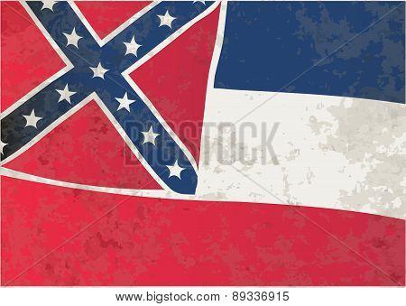 Mississippi State Flag Grunge