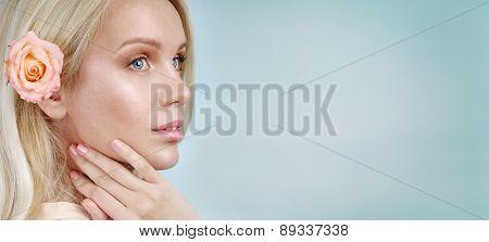 Sensual Tender Delicate Woman Portrait On Blue Background