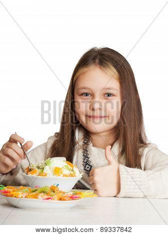 Girl Eats Fruit Dessert