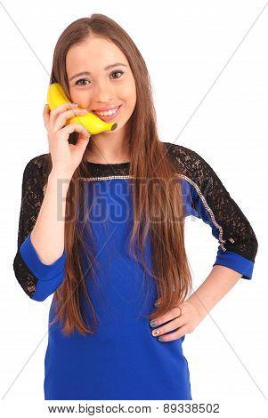 Child Girl With Banana Phone