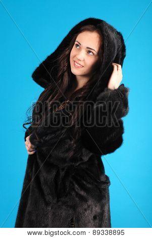 Beautiful Young Girl In Fur Coat