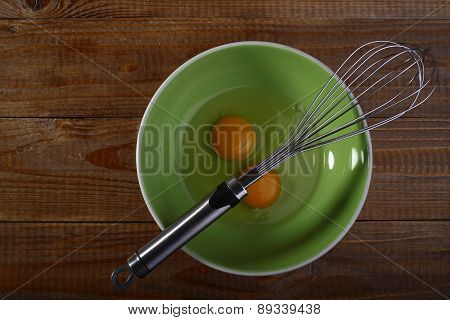 Eggs And Beater On Green Plate