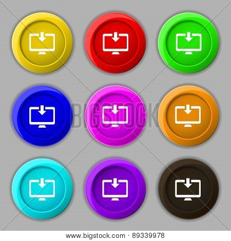 Download, Load, Backup Icon Sign. Symbol On Nine Round Colourful Buttons. Vector