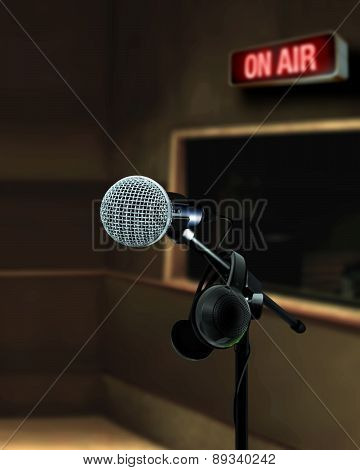 Microphone In Recording Studio On Air