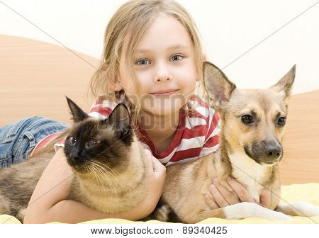 Girl With A Cat And A Dog