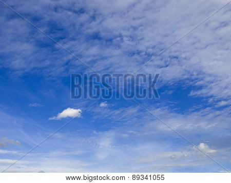 Cirrus clouds in the blue sky