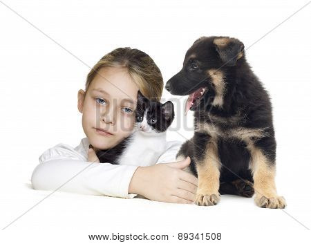 Girl And Kitten And Puppy