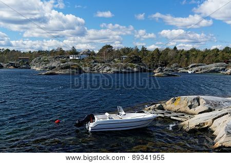 Small Motor Boats On The Coast In Norway