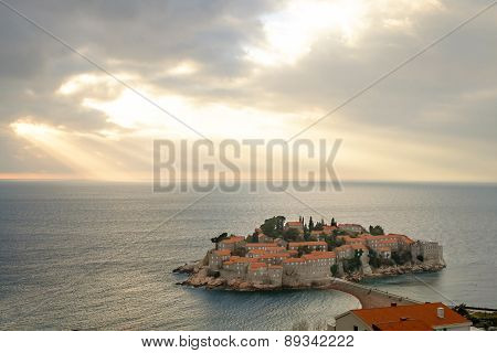 Picturesque Gorgeous Scenic View On Sveti Stefan