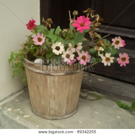 Beautiful Flowers In A Bucket