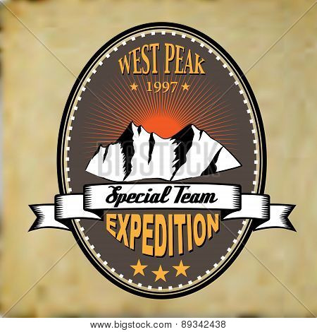 Old Style Adventure Mountain Expedition Badge