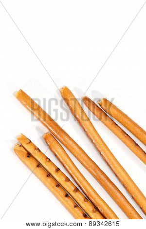 Isolated Breadsticks On White